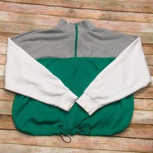 Forever 21 Green/Gray/White Zip Front Jacket 0X
